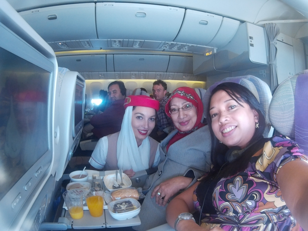 Our wefie with Imanuella, the kind & beautiful stewardess of Emirates which made my Mom her #1 fan